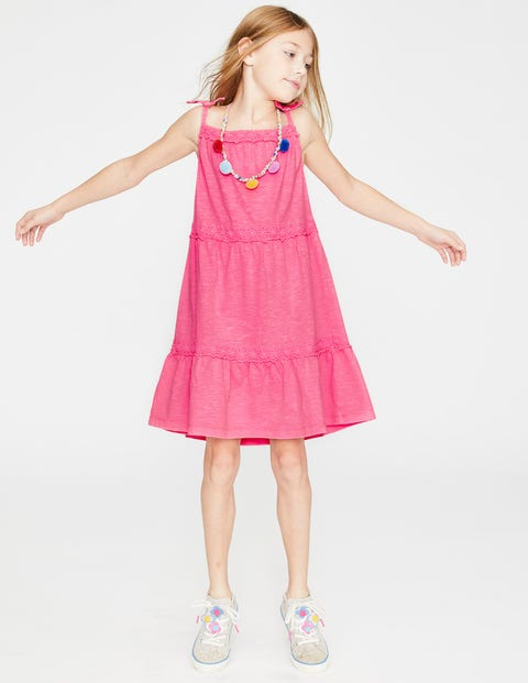 Tiered Garment-Dyed Dress - Festival Pink