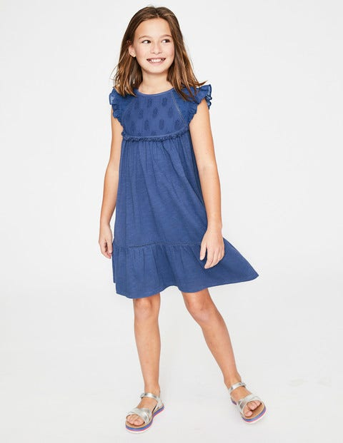 Tropical Broderie Dress - Starboard Blue