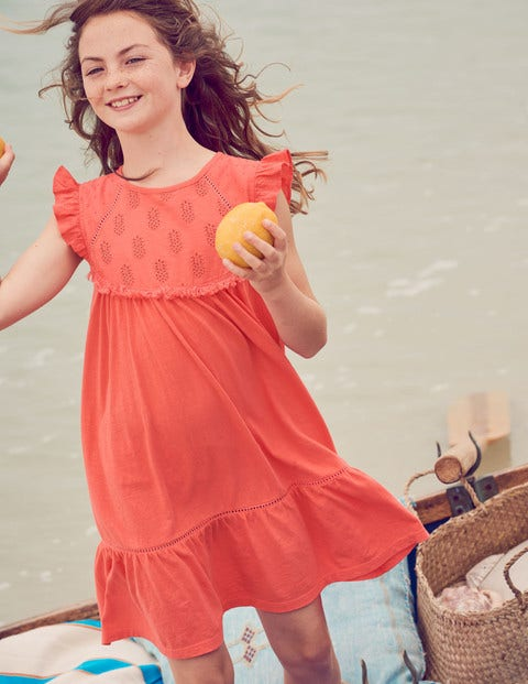 Tropical Broderie Dress - Tropical Coral