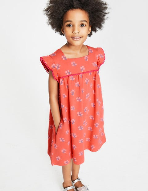 Frill Sleeve Jersey Dress - Tropical Coral Woodblock