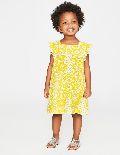 Frill Sleeve Jersey Dress - Sunshine Yellow Daisy Cloud