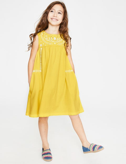 Bold Embroidered Jersey Dress - Sweetcorn Yellow
