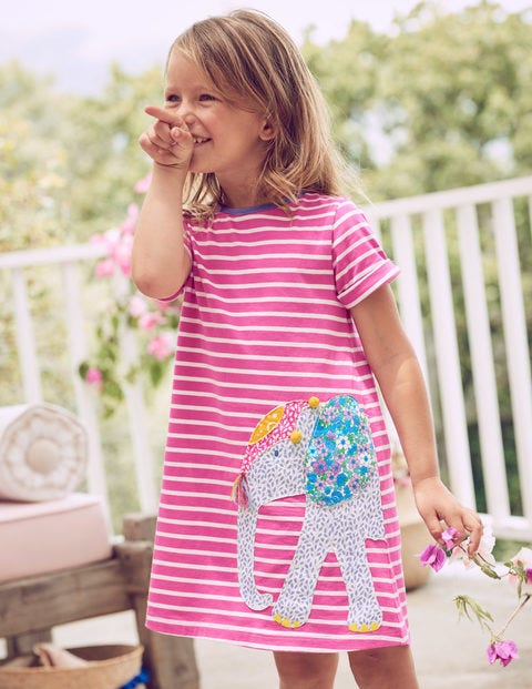 Safari Friends Appliqué Dress - Tickled Pink Stripe/Elephant