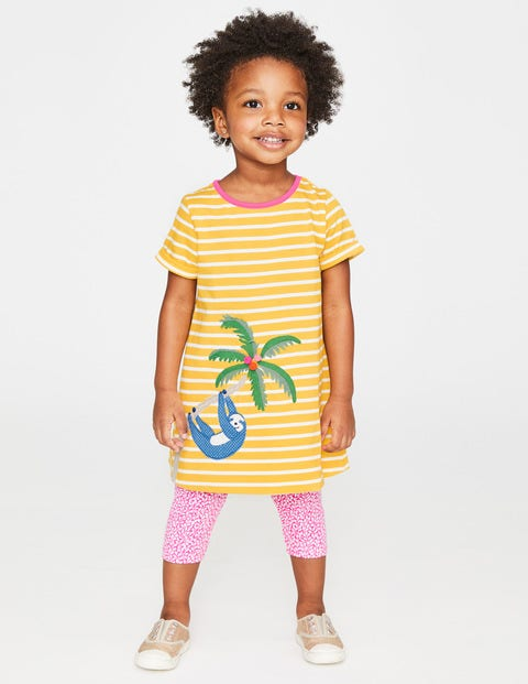 Safari Friends Appliqué Dress - Sweetcorn Yellow Stripe/Sloth