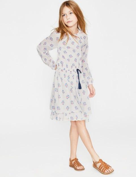 Bedrucktes Kleid Mit Smokdetails An Der Taille - Weiß/Seeblau, Holzschnitt