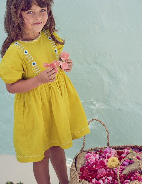 Embroidered Boho Dress - Sweetcorn Yellow