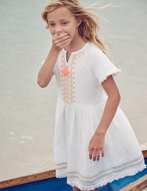 Fringe Detail Woven Dress - White