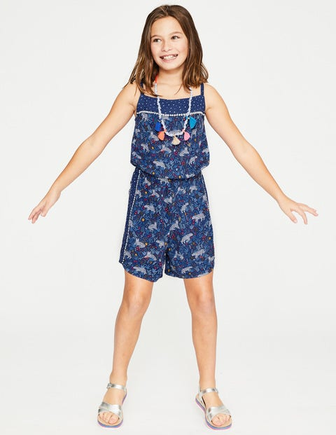 Hotchpotch Woven Playsuit - Starboard Blue Tropical Tigers