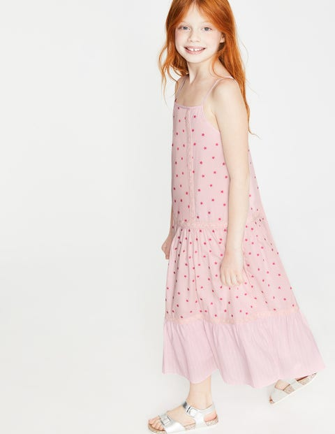 Strappy Woven Sundress - Festival Pink Scatter Star