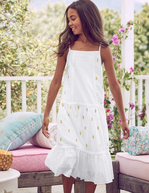 Strappy Woven Sundress - White/Gold Pineapple