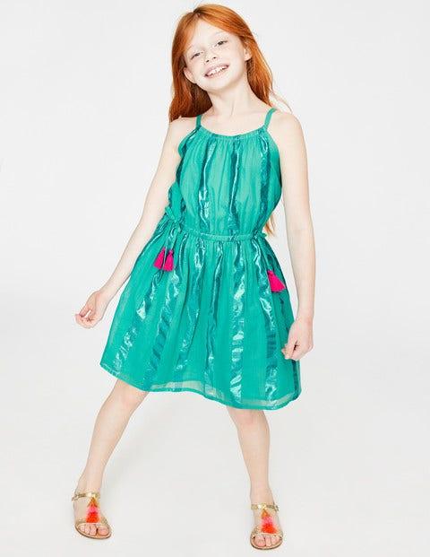 Glänzendes Kleid Mit Streifen - Meeresbrisenblau, Grün