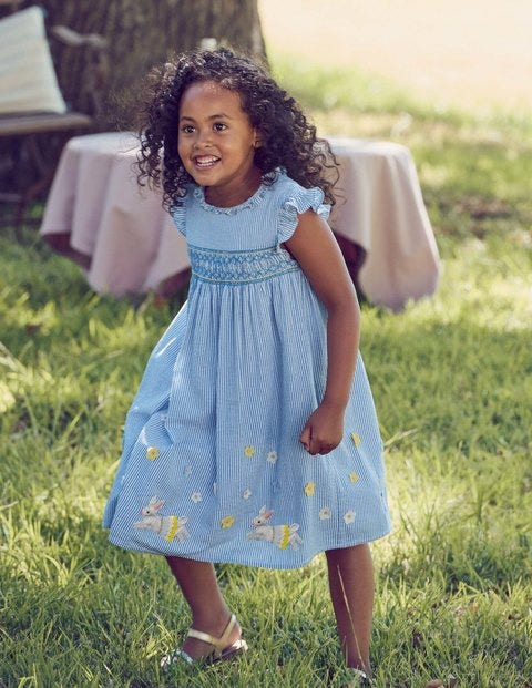 Frill Sleeve Smocked Dress - Elizabethan Blue Bunnies