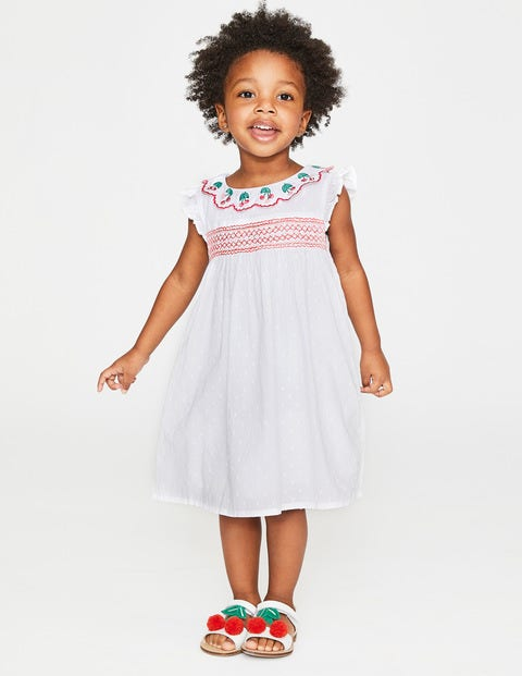 Frill Sleeve Smocked Dress - White Textured Dot/Cherries