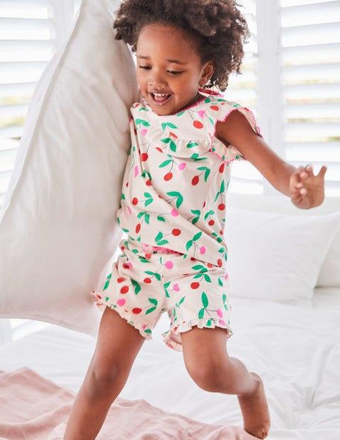 Jerseyschlafanzug-Set Mit Rüschen - Parisrosa, Kirschen