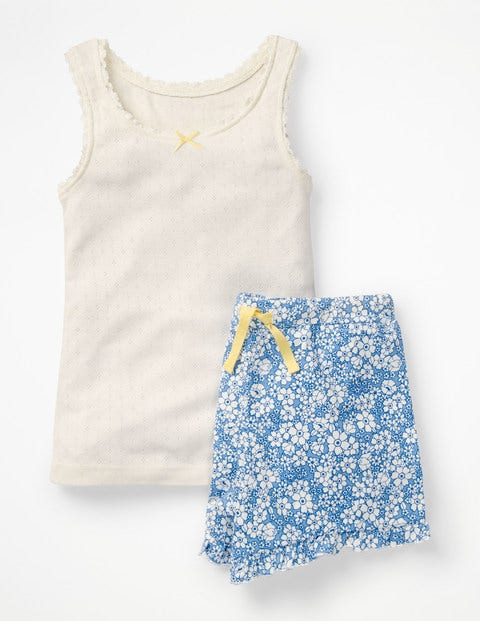 Shortie Vest Pyjama Set - Lake Blue Forget Me Not