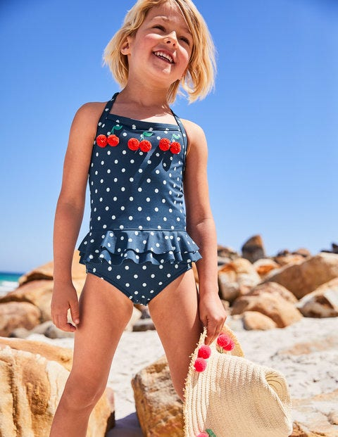 Halterneck Appliqué Swimsuit - Deep Sea Blue Cherries