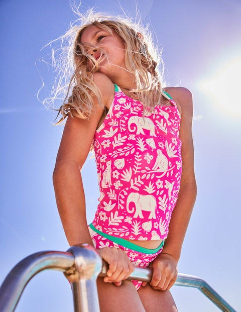 Knot-Back Tankini Set - Pink Glo Indian Garden