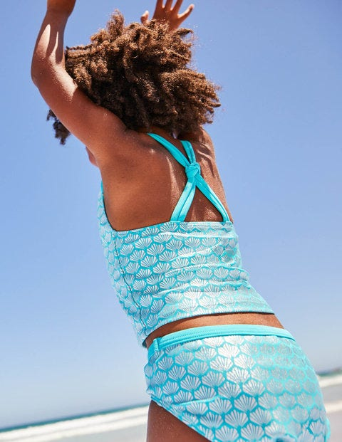 Knot-Back Tankini Set - Aqua Jade Mermaid Sparkle
