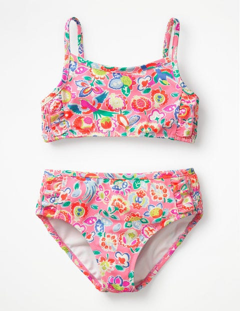 Smocked Bikini Set - Neon Pink Tropical Paisley