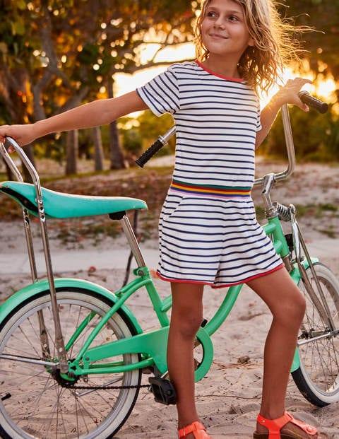 Colour Pop Jersey Playsuit - Ivory/College Blue Stripe
