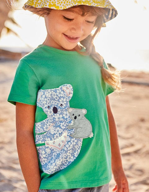 Patchwork Appliqué T-Shirt - Jungle Green Koala