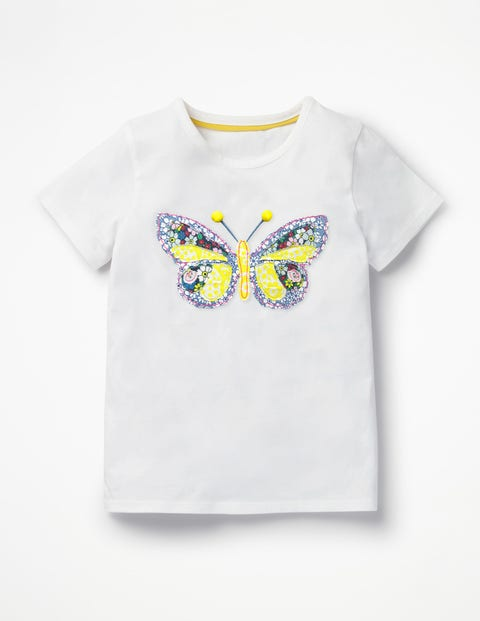 Patchwork Appliqué T-Shirt - White Butterfly