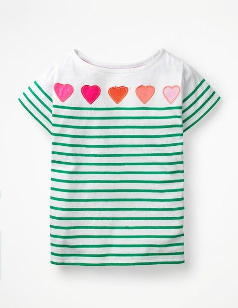 Short-Sleeved Fun Breton - White/Astro Green Hearts