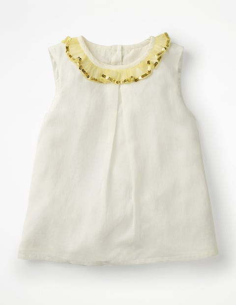 Sparkly Ruffle Trim Top - Ivory