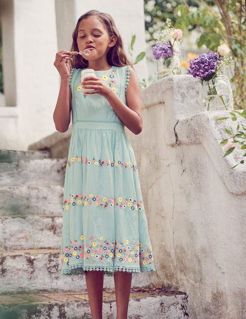 Flower Embroidered Dress - Tropical Rain Blue