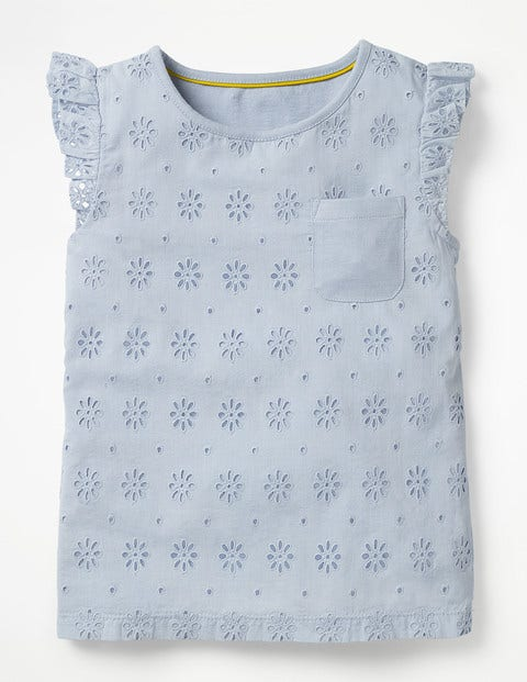Pretty Broderie Top - Provence Blue