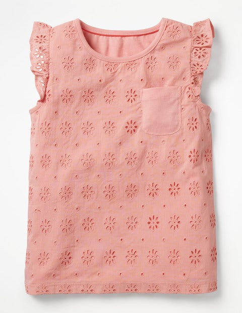 Pretty Broderie Top - Shell Pink