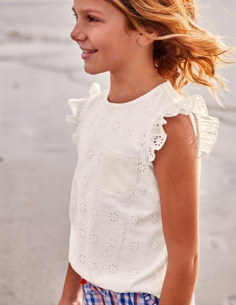 Pretty Broderie Top - White