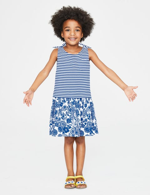 Hotchpotch Jersey Dress - Duke Blue Doodle Flower