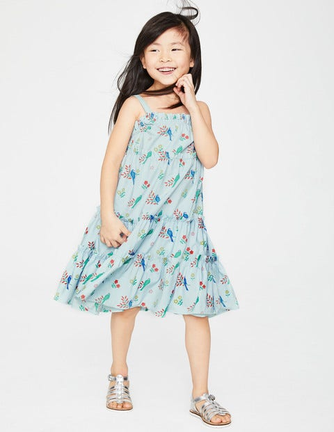 Twirly Woven Dress - Pale Blue Beautiful Birds