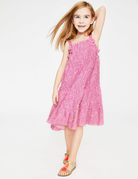 Twirly Woven Dress - White/Pink Glo Sweet Berry