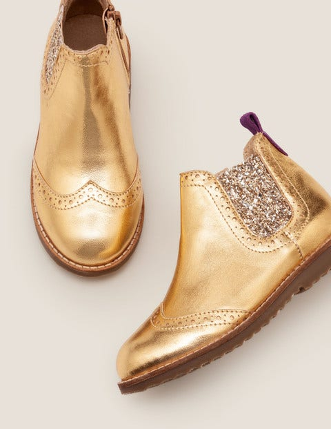 Leather Chelsea Boots - Gold Metallic