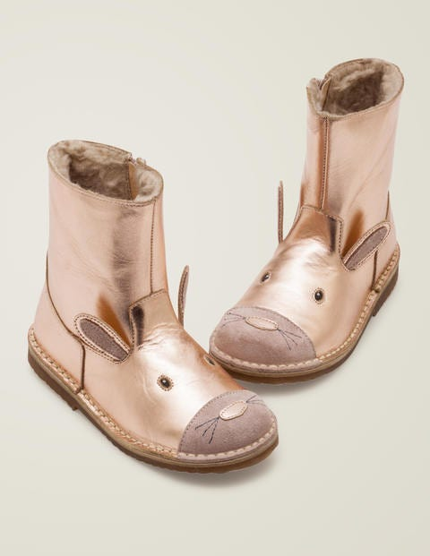Cosy Short Leather Boots - Rose Gold