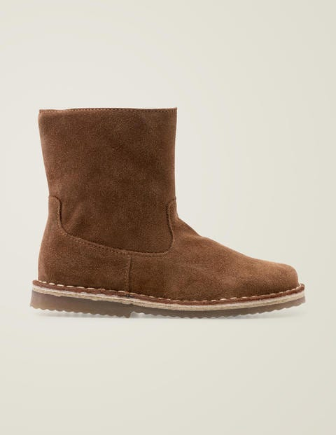 Cosy Short Leather Boots - Tan