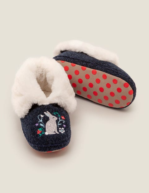 Cosy Embroidered Slippers - College Blue
