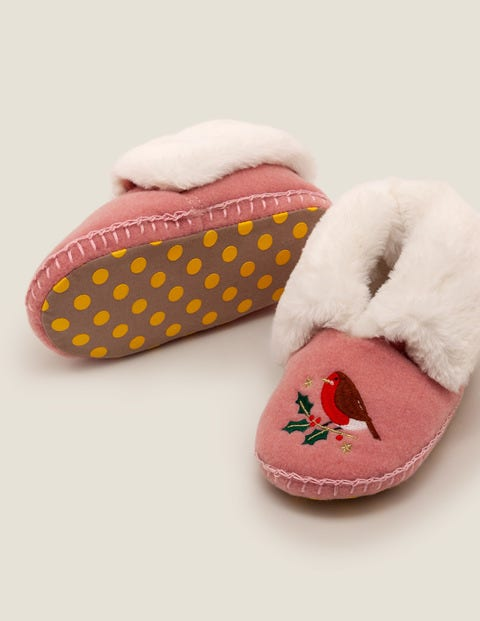 Embroidered Slippers - Chalky Pink