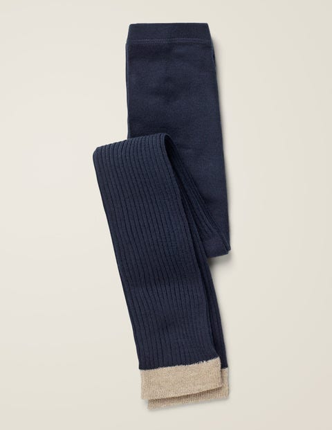 Ribbed Footless Tights - Navy Blue