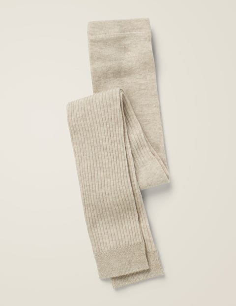 Ribbed Footless Tights - Oatmeal Marl