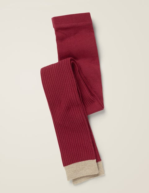 Ribbed Footless Tights - Bramble Red