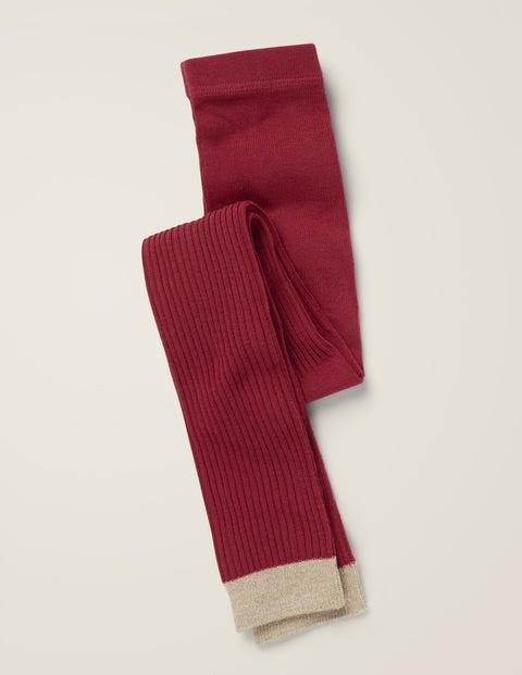 Ribbed Footless Tights - Bramble Red