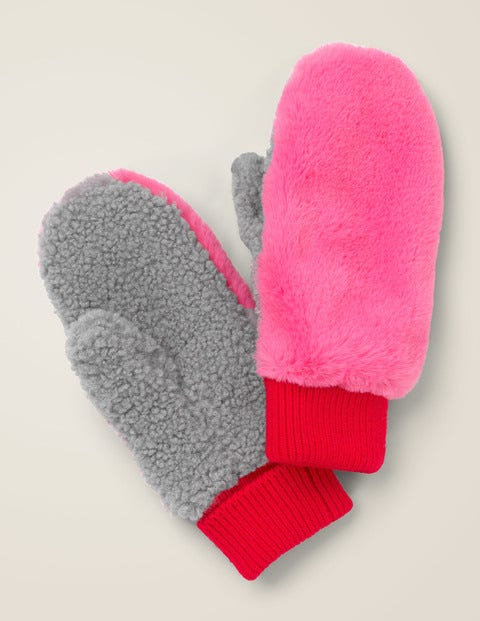 Faux Fur Mittens - Festival Pink