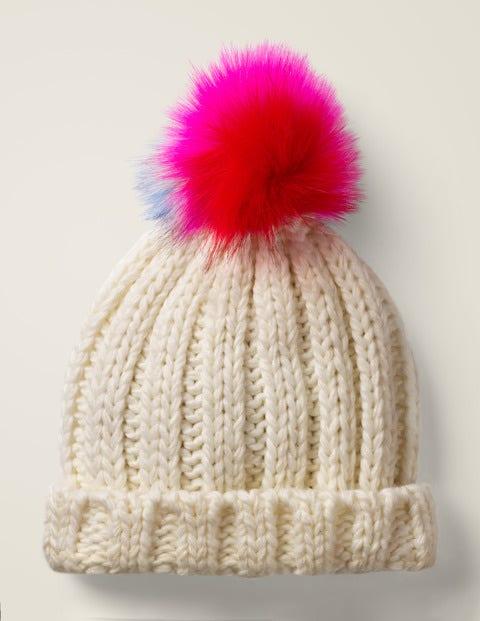 Chunky Knitted Hat - Ecru Marl