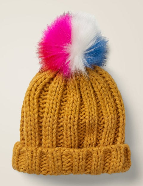 Chunky Knitted Hat - Mellow Yellow