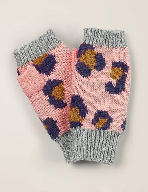 Leopard Fingerless Gloves - Chalky Pink Leopard