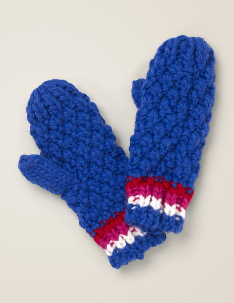 Chunky Knitted Mittens - Howlin Blue