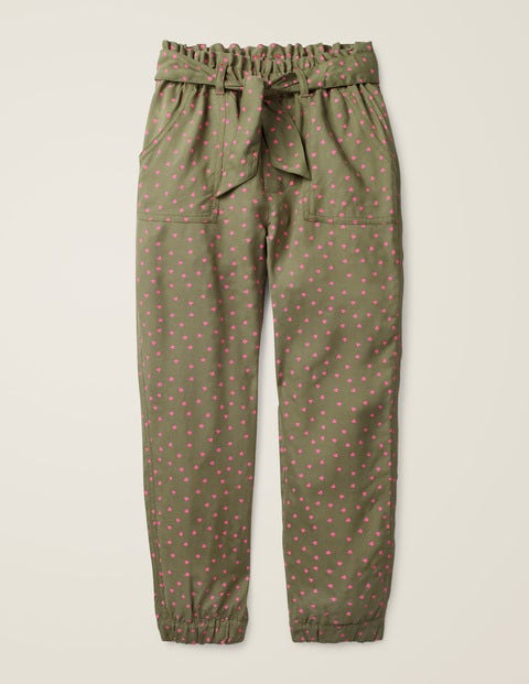 Tie-Waist Trousers - Army Green Sweet Hearts